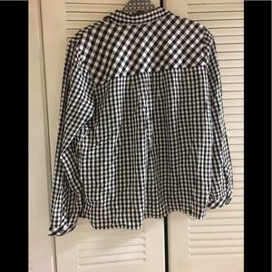 J. Jill Tops - J.JIll Checker Plaid Black White Rayon Shirt SP
